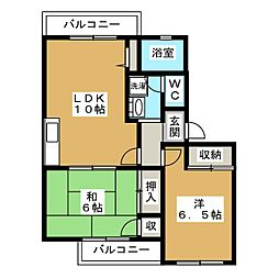 シャンリジェール[2階]の間取り