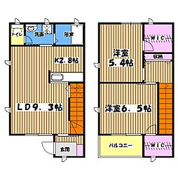 [テラスハウス] 東京都立川市砂川町6丁目 の賃貸【/】の間取り