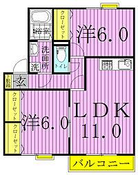 ウィンドワードAB[2階]の間取り