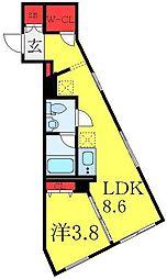 東武東上線 大山駅 徒歩6分の賃貸マンション 2階1LDKの間取り