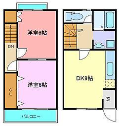 JR常磐線 南仙台駅 徒歩3分の賃貸アパート 2階2DKの間取り