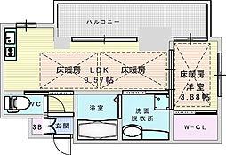 ノルデンタワー江坂プレミアム 3階1LDKの間取り