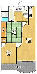 ベルカンポ甲子園[2階]の間取り