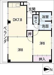 大津マンションII 西棟[2階]の間取り