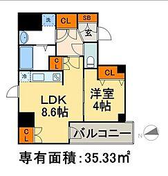 東京メトロ日比谷線 茅場町駅 徒歩1分の賃貸マンション 8階1LDKの間取り