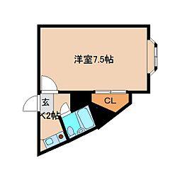 近鉄南大阪線 高田市駅 徒歩6分の賃貸マンション 3階1Kの間取り