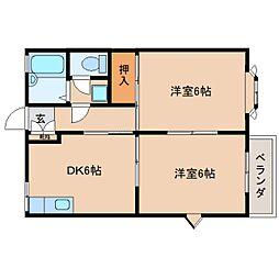 JR和歌山線 大和二見駅 徒歩3分の賃貸アパート 2階2DKの間取り
