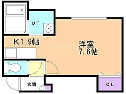 ラダトーム恵み野 2階1Kの間取り