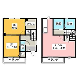 [テラスハウス] 静岡県浜松市東区大蒲町 の賃貸【/】の間取り