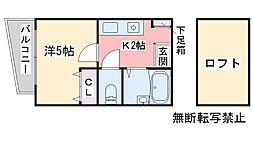 シンセイコーポ田隈[103号室]の間取り