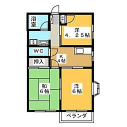 パークハイツA[2階]の間取り