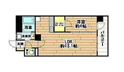 福岡県北九州市小倉北区中津口1丁目の賃貸マンションの間取り
