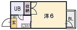 大阪府東大阪市源氏ケ丘の賃貸マンションの間取り