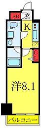 東武東上線 北池袋駅 徒歩8分の賃貸マンション 6階1Kの間取り