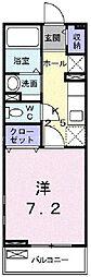 JR津山線 備前原駅 徒歩16分の賃貸アパート 2階1Kの間取り