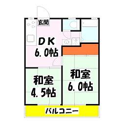 ハイツ吉岡 たんぽぽ館[2階]の間取り