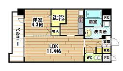 JR日田彦山線 小倉駅 徒歩6分の賃貸マンション 3階1LDKの間取り