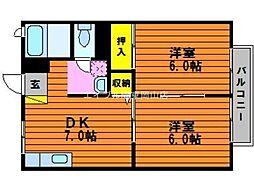 岡山県瀬戸内市邑久町山田庄丁目なしの賃貸アパートの間取り