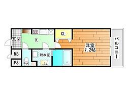 近鉄南大阪線 藤井寺駅 徒歩1分の賃貸マンション 7階1Kの間取り