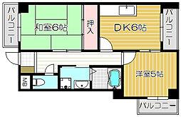 Osaka Metro今里筋線 清水駅 徒歩15分の賃貸マンション 4階2DKの間取り