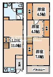 [テラスハウス] 大阪府堺市北区大豆塚町2丁 の賃貸【/】の間取り