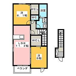 メゾンカルムII[2階]の間取り