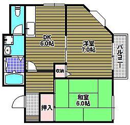 大阪府堺市南区大庭寺の賃貸アパートの間取り