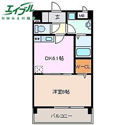 近鉄名古屋線 阿倉川駅 徒歩7分の賃貸マンション 1階1DKの間取り