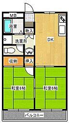 大阪府高石市西取石8丁目の賃貸アパートの間取り