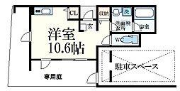 阪神本線 芦屋駅 徒歩2分の賃貸マンション 1階ワンルームの間取り