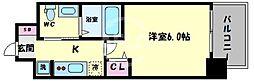 エグゼ阿倍野II 6階1Kの間取り