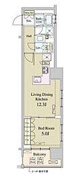東京メトロ有楽町線 新富町駅 徒歩1分の賃貸マンション 7階1LDKの間取り