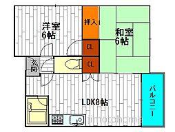 プレアール千代崎[2階]の間取り