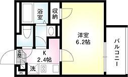 東急大井町線 戸越公園駅 徒歩1分の賃貸マンション 3階1Kの間取り