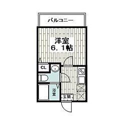 仮)レイディアンス公田 2階1Kの間取り