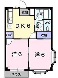ニューシティーミタ 1階2DKの間取り