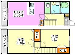 [テラスハウス] 千葉県船橋市金杉台1丁目 の賃貸【/】の間取り