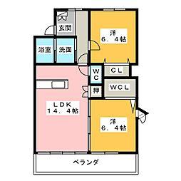愛知県名古屋市名東区西山台の賃貸マンションの間取り