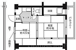 ビレッジハウス南野田3号棟[2階]の間取り
