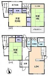 [一戸建] 千葉県船橋市二和東5丁目 の賃貸【/】の間取り