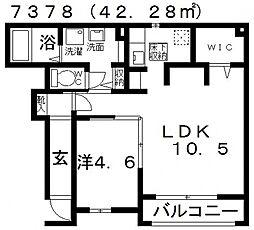 ホークオカモト[105号室号室]の間取り