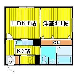 北海道札幌市東区北十五条東18丁目の賃貸マンションの間取り