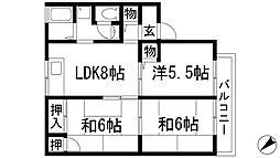 兵庫県宝塚市鹿塩2丁目の賃貸アパートの間取り
