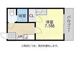 福岡市地下鉄箱崎線 馬出九大病院前駅 徒歩1分の賃貸マンション 7階1Kの間取り