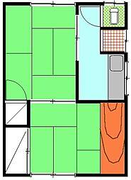 二見アパート[2号室]の間取り