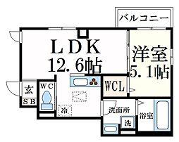 ルーチェリオ 1階1LDKの間取り