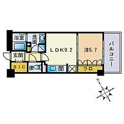 ザ・パークハウス福岡タワーズEAST 14階1LDKの間取り