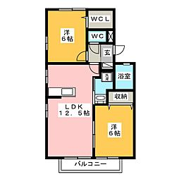 セジュール山幸A[1階]の間取り