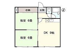 アシスト稚内マンション 4階2DKの間取り