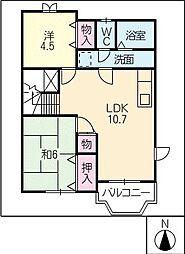 ピュアハウス A・B棟[2階]の間取り